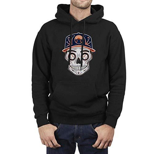 (New York Baseball Skull Mets_Art Male Black Pullover Hoodie Fleece Novelty Long Sleeve )