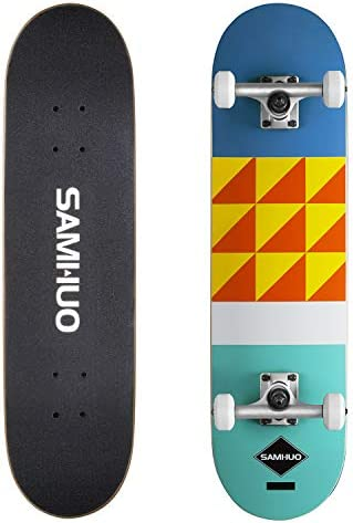SAMHUO Skateboards 31 X 8 Pro Complete Skateboard 7 Layer Canadian Maple Skateboard Deck for Extreme Sports and Outdoors