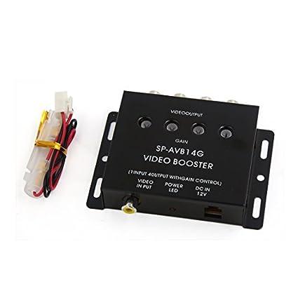 eDealMax Car Auto Negro 1 Entrada a 4 Salida AV RCA Video Splitter Amplificador Booster