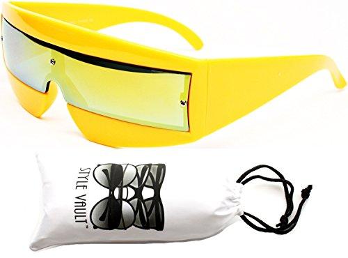 V138-vp Robocop Robot Rimless Party Sunglasses (019RV Yellow-Gold Mirror, - Cyclops Shades