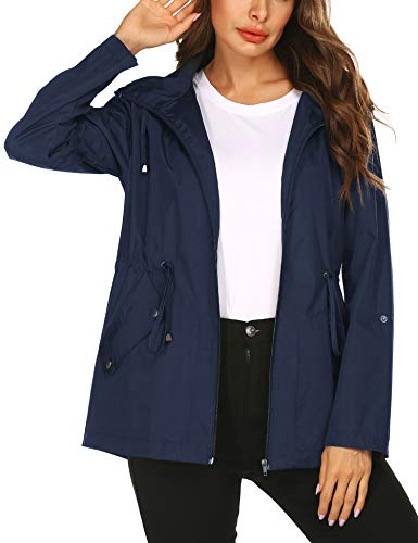 Doreyi Active Jackets for Women Water Repellent Softshell Trench Coat with Hoodie Sport,Waterproof Rain Jacket Navy Blue