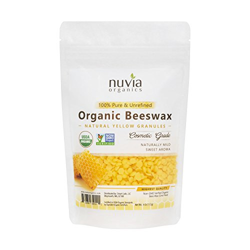 Nuvia Organics Beeswax- USDA Certified Organic - Natural Yellow Granules, 4 Oz