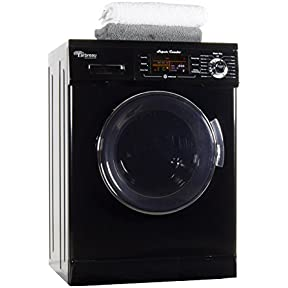 Arbreau 1.6 Cu.Ft Compact New Combination Washer and Dryer AW4400 CV Black with convertible Venting/Condensing Drying with Automatic Water Level and Sensor Dry most suitable for Tiny houses.