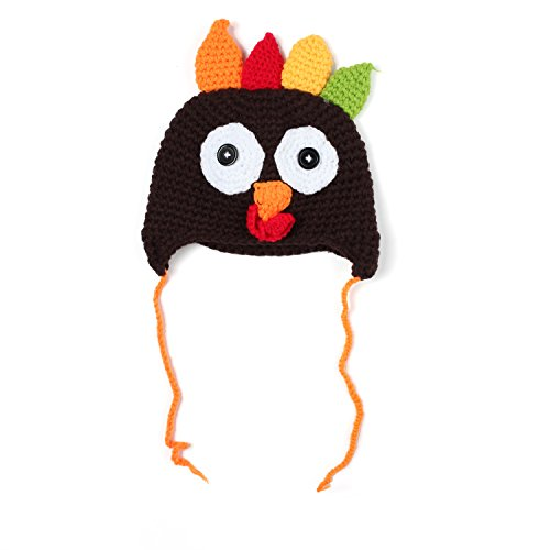 YPS Thanksgiving Turkey Knitted Crochet Beanie Cap for 6-24 Months Baby Boy Girl – Handmade Beanie Hat with Pigtail Braids