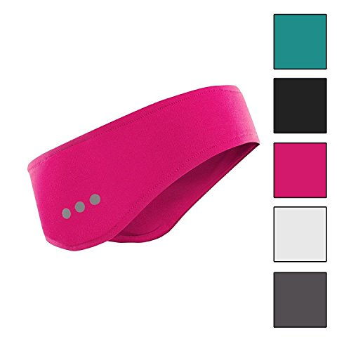 Tundra Bluetooth Sports Headband - Stereo Speakers Mic Hands Free Washable Wireless Headwear for Meditation, Gym, Running, Fitness, Exercise - Compatible with iPhone, iPod, Android Smart Phone - Pink