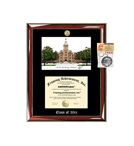 Ohio State University Diploma Frame Diploma Lithograph Major Logo OSU Degree Emboss Graduation Award Plaque College Prestige Gold Accents Graduate Gift Frame