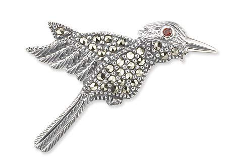 (Potional 925 Sterling Silver and Switzerland Marcasite Humming Bird Brooch Pin)