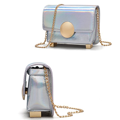 Silver Purse Women Small for Leather Shoulder Crossbody Laser Pu Marchome Bag qafwv7Of