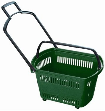 """Supermarket Rolling Shopping basket """"GREEN"""" Plastic set of 6 (Six) 23.6'' x 13.7'' x 14'' H For Retail Store w/ Pull Handle W/4 Swivel Wheels by Market Fizz"""
