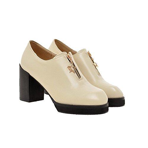 Allhqfashion Mujeres High Heels Solid Cremallera Redonda Cerrada Toe Pumps-Zapatos Beige