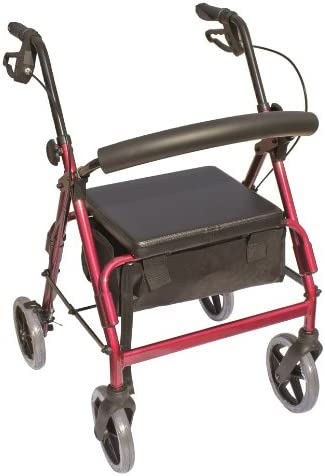 """Essential Medical Supply The Blazer 4 Wheel Walker with 8"""" Wheels and Pouch/Basket in Red 41c90GybjZL"""