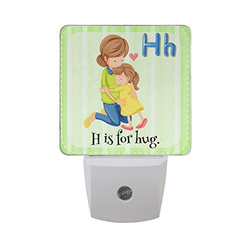 (Naanle Set of 2 Flash Card Alphabet H is for Hug Mom and Baby Happy Mother's Day On Green White Stripes Auto Sensor LED Dusk to Dawn Night Light Plug in Indoor for Adults)