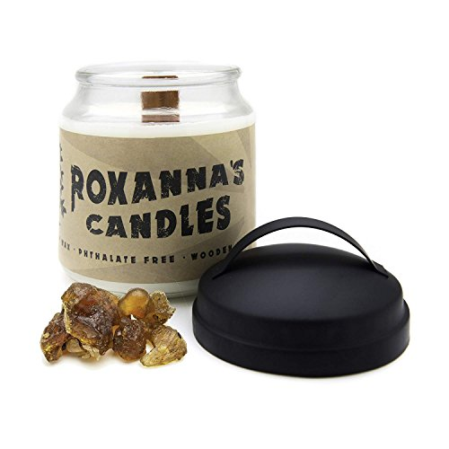 Frankincense & Myrrh Soy Candle with Crackling Wooden Wick | Handmade Artisan Scented Natural Fragrances Infused with Essential Oils, Non-GMO Wax, Large 16oz Jar 120+ Hours Burn Time, Aromatherapy