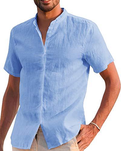 Makkrom Mens Casual Cotton Linen Shirts Button Down Short Sleeve Loose Summer Beach Blouse