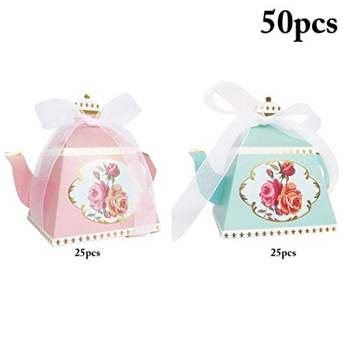 (Funpa 50PCS Wedding Gift Box Teapot Shape Candy Box Treat Paper Box)