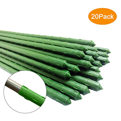 UniEco Metal Garden Stakes 60 Inches Plastic Coated Steel Plant Stakes, Plant Sticks for Plant Support, Pack of 20