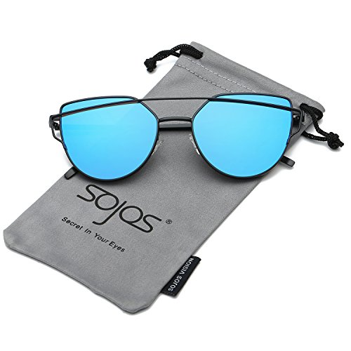 Blue Black Sunglasses (SOJOS Cat Eye Mirrored Flat Lenses Street Fashion Metal Frame Women Sunglasses SJ1001 with Black Frame/Blue Mirrored Lens)