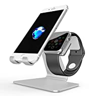 [Nouvelle Version] Apple Watch et Iphone Stand, OMOTON 2 en 1 Support en Alliage D'aluminium pour Apple Watch Séries et Iphone Séries, Argent