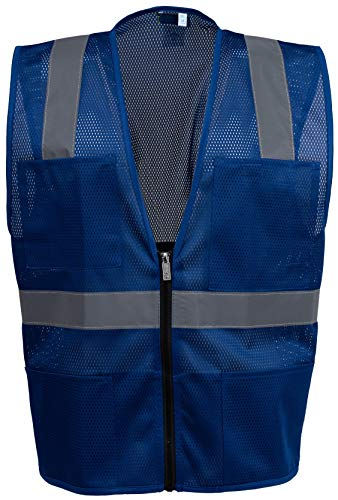 - Safety Depot Mesh Reflective Safety Vest With Zipper and Pockets Hi Vis, Light Weight MSD1000 (Royal Blue, Small)