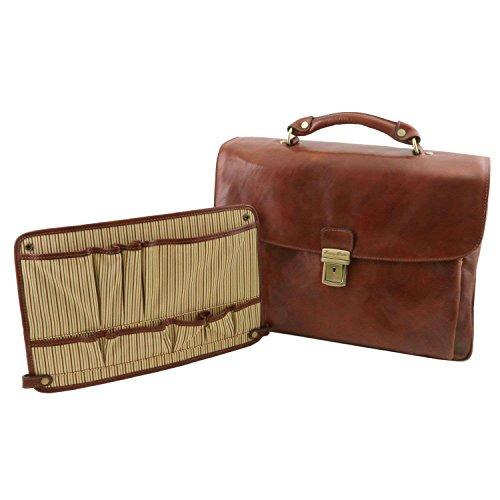 Tuscany Leather - Alessandria - Cartable porte ordinateur TL SMART multi compartiments en cuir - Marron
