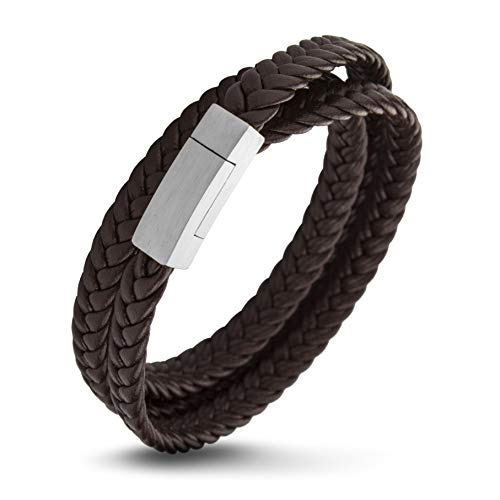 555Jewelry Stainless Steel Braided Double Wrap Leather Twist Rope Chain Cord Adjustable Magnetic Clasp Simple Men Women Unisex Fashion Jewelry Accessory Bangle Bracelet, Brown & Silver 8 Inch