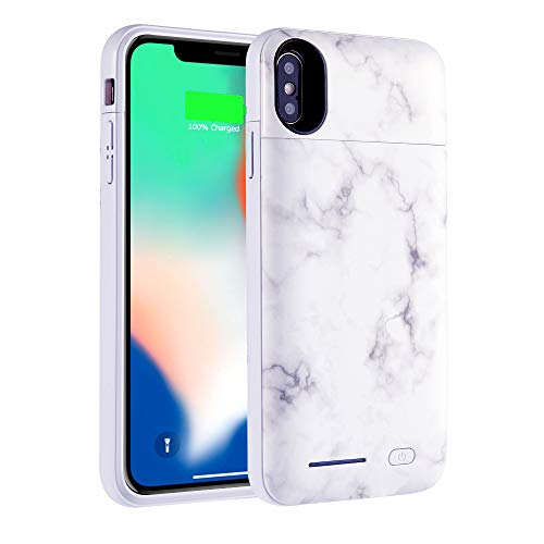 iPhone Xs Case (2018) / iPhone X Case (2017) Battery Case, Marble Series - 5000mAh Ultra Slim Extended Battery Backup Charging Case Charger Pack Power Bank - White
