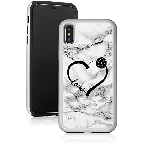 Marble Shockproof Impact Hard Soft Case Cover for Apple iPhone Love Heart Volleyball (Black, for Apple iPhone SE/iPhone 5 / iPhone 5s)