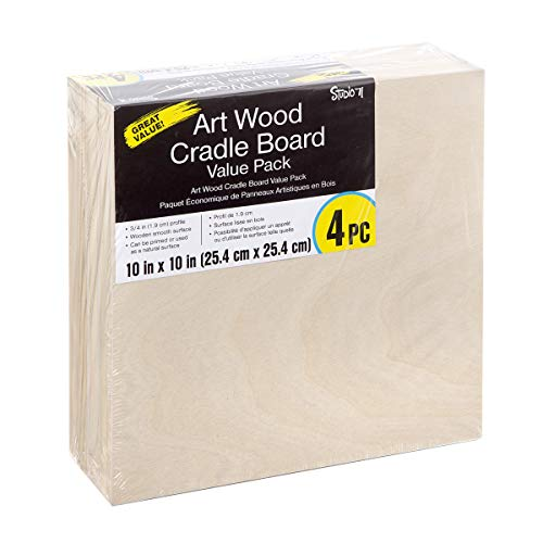 Studio 71 TCDRCWP10X10 Wood Cradle Board Panel, 10 x 10 inches, 4-Pack by Studio 10