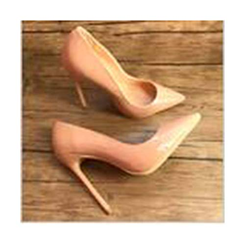 (Real pic claiss Nude Patent Leather Office Lady OL Style Women Lady 120mm high Heel Shoes Pump 10cm Heel 8.5 )