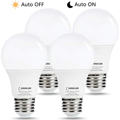 LOHAS Dusk Sensor Porch Light Bulb, Sensor Lights Dusk to Dawn Light Control LED Bulbs A19 E26 Lamp, Warm White 2700K, 40W Equivalent Smart Auto On/Off, Indoor Outdoor Yard Patio Lighting, 4 Pack