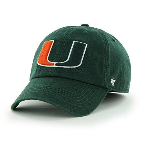 '47 NCAA Miami Hurricanes Franchise Fitted Hat, Dark Green, Large (Cap Franchise)