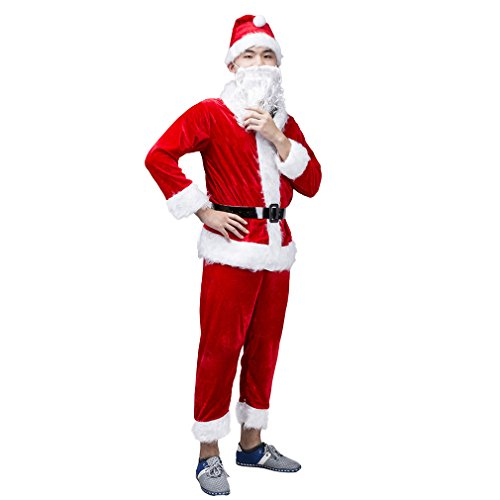 Mannice Christmas Santa Claus Costume with Beard, Santa Claus Christmas Suit,M (Santa Claus Costumes For Sale)