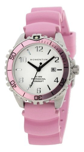 (St. Moritz New Momentum M1 Mini Women's Dive Watch & Underwater Timer for Scuba Divers with Pink Bezel & Pink Hyper Rubber Band)