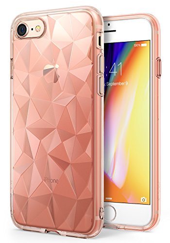 Apple iPhone 8 Case Ringke [AIR PRISM] 3D Urban Jewels Design Slim Unique Rhinestone Pattern Soft Gel TPU Drop Resistant Cover for Apple iPhone 8 / iPhone 7 – Rose Gold Crystal