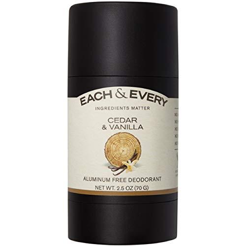 Each & Every All Natural Aluminum Free Deodorant for Men and Women - Cruelty Free Vegan Deodorant with Essential Oils, Non-Toxic, Baking Soda Free, Cedarwood & Vanilla, 2.5 Oz.