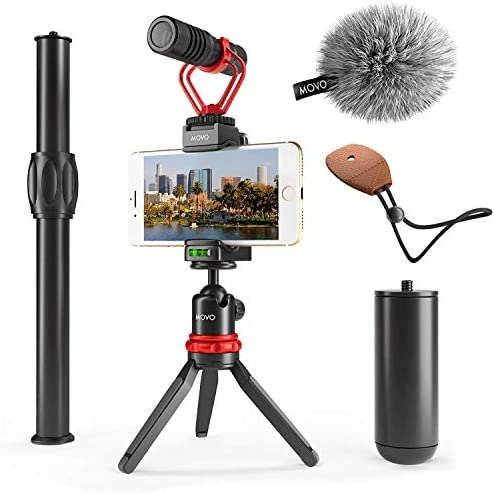 Movo VXR10+ Smartphone Video Rig with Mini Tripod, Phone Grip, and Video Microphone Compatible with iPhone 11, 11 Pro, XS, XR, X, 8, 7, 6S, 6, 5S and Android – for YouTube, TIK Tok, Filming, Vlogging