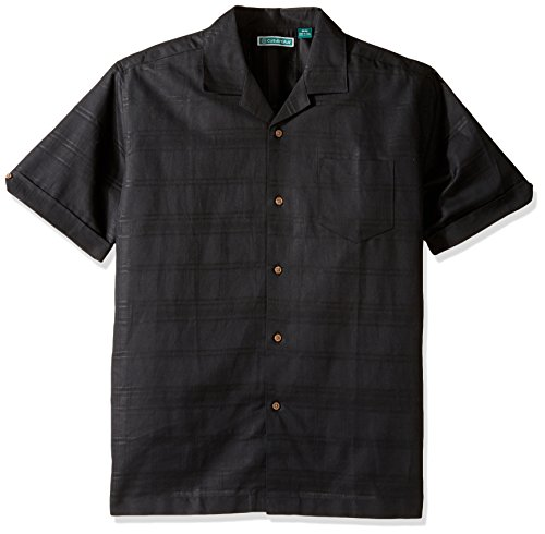 (Cubavera Men's Short Sleeve Windowpane Plaid Button-Down Cuban Camp Shirt, Tonal Jet Black, Small)