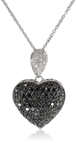 Sterling Silver Black and White Diamond Puffed Heart Pendant (1 cttw, I-J Color, I2-I3 Clarity), 18″