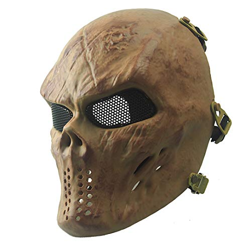 Shooting Shields - Airsoft Mask Full Face Masks Skull Skeleton with Metal Mesh Eye Protection Army Fans Supplies M06 Tactical Mask for Halloween BB Paintball Gun Patriots CS Game Cosplay Party