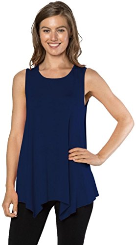 Velucci Womens Tunic Tank Top T-Shirt - Loose Basic Sleeveless Tee Shirt Blouse, (Navy-M) (Shirt Solid Sleeveless)