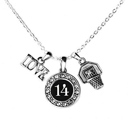 MadSportsStuff Custom Player ID Basketball Necklace (#14, One Size)