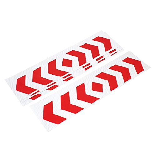 4 Pcs Car Decor Silver Tone Red Arrows Print Reflected Stickers Decal - Red Arrow Car