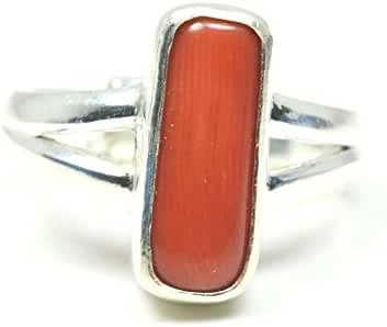 Jewelryonclick Sterling Silver Nice Cut 5 Carat Red Coral Adjustable Ring For Men & Women
