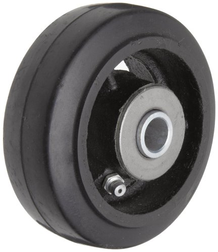 RWM Casters Mold-On Rubber on Iron Wheel, Roller Bearing, 250 lbs Capacity, 4