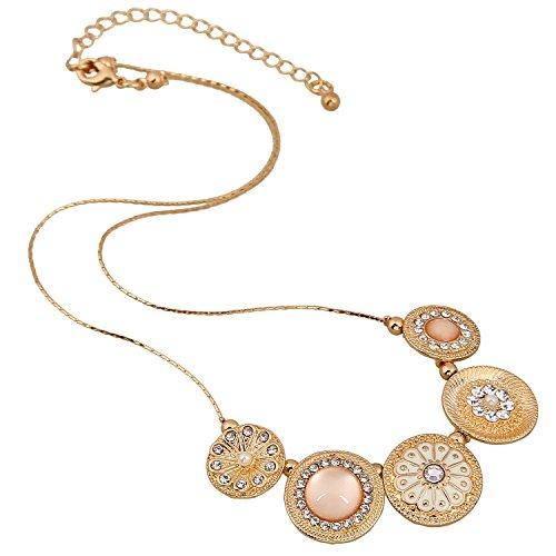 D EXCEED Handmade Etched Enamel Flower Crystal Rhinestone Thin Chain Gold Necklace (Crystal Flower Bangle)