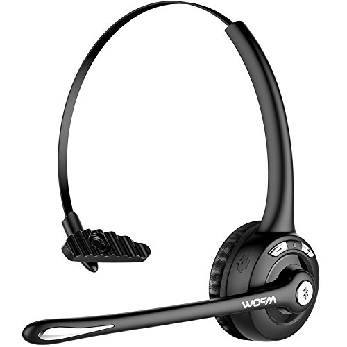 Clearchat Usb Headset - Mpow Pro Trucker Bluetooth Headset/Cell Phone Headset with Microphone, Office Wireless Headset, Over the Head Earpiece, On Ear Car Bluetooth Headphones for Cell Phone, Skype, Truck Driver, Call Center