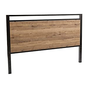 OSP Home Furnishings Quinton Headboard and Footboard in Salvage Oak Finish with Matte Black Frame for Queen Size Bed