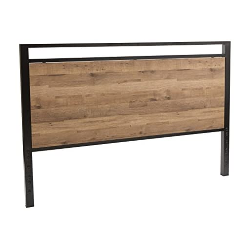 Bedroom OSP Home Furnishings Quinton Headboard and Footboard in Salvage Oak Finish with Matte Black Frame for Queen Size Bed farmhouse headboards