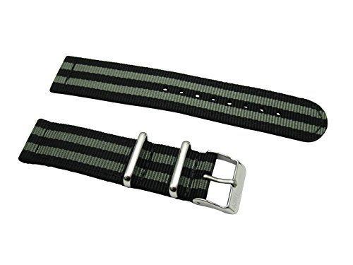 HNS 2 Pieces 22mm G10 Mod James Bond 007 Black & Grey Nylon Watch Strap NT138