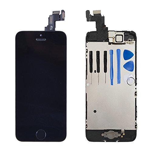 Ayake LCD Screen for iPhone 5c Black Display Assembly Digitizer Touchscreen Replacement with Front Facing Camera, Speaker and Home Button Pre-Assembled (All Required Tools Included)